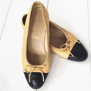 Vintage CHANEL Ballet Black/Beige Size  5 1/2